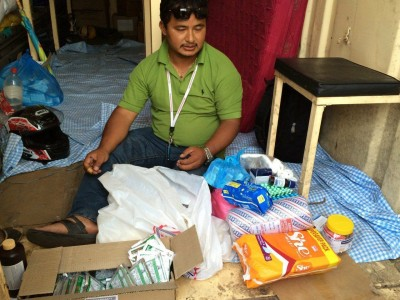 Byasi, Thimi with medicines, rice, noodles and tents3