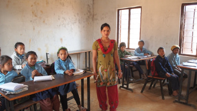 Education in Dhola - with the teacher